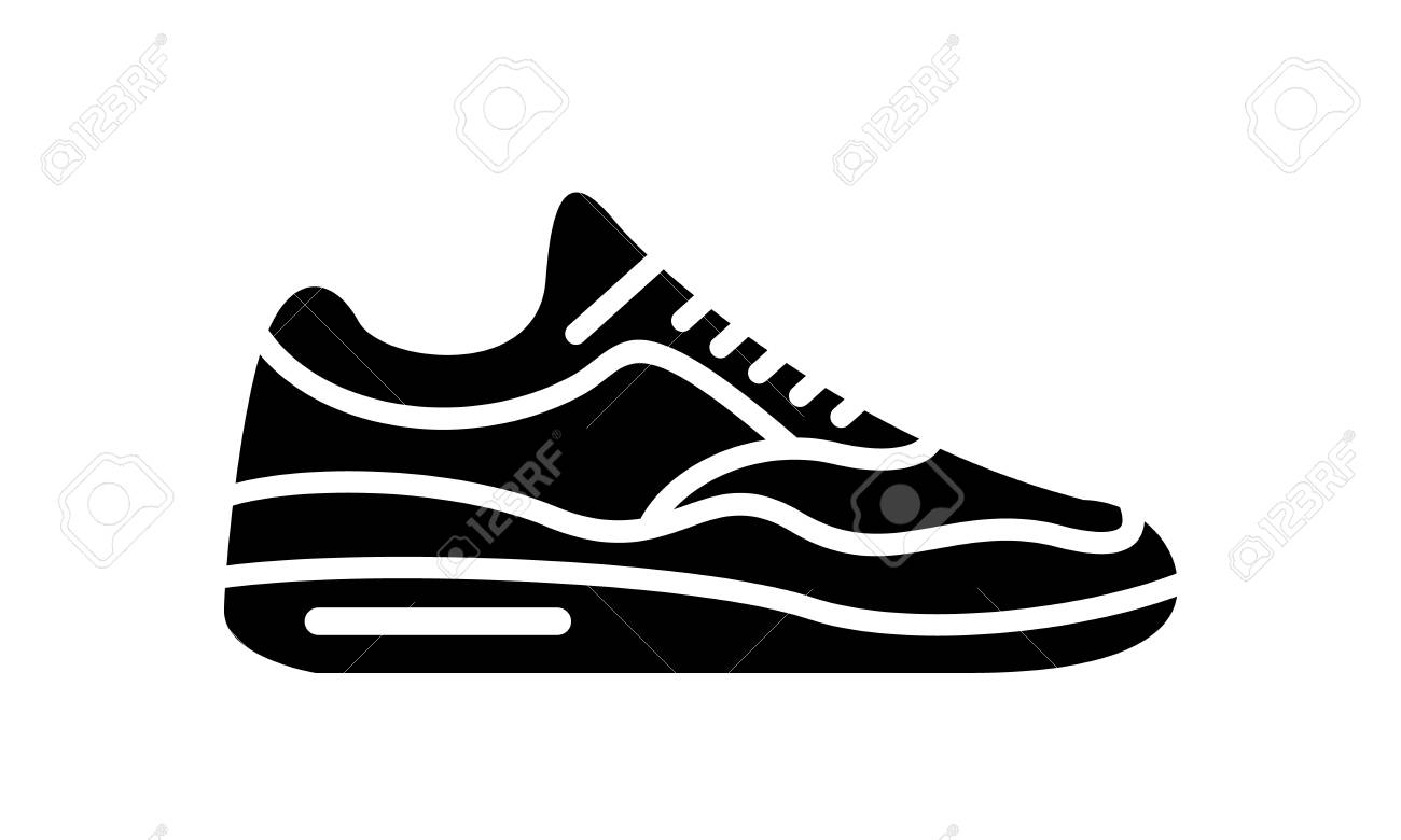Running shoes icon. Simple illustration of fitness and sport,..