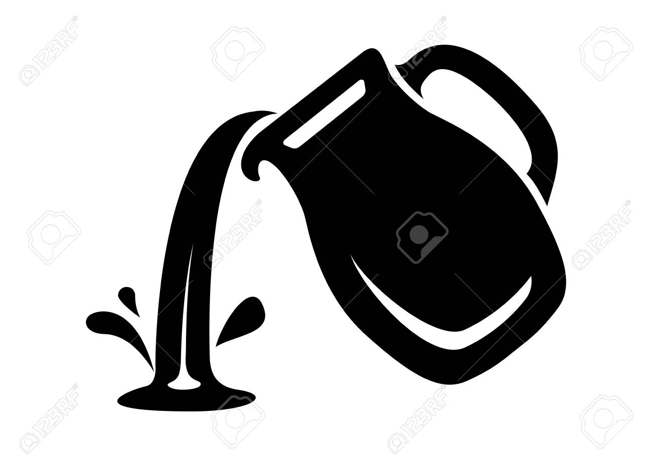 Jug pour out milk or water canister. Simple icon of pitcher logotype vector illustration for web or print design. - 115858345