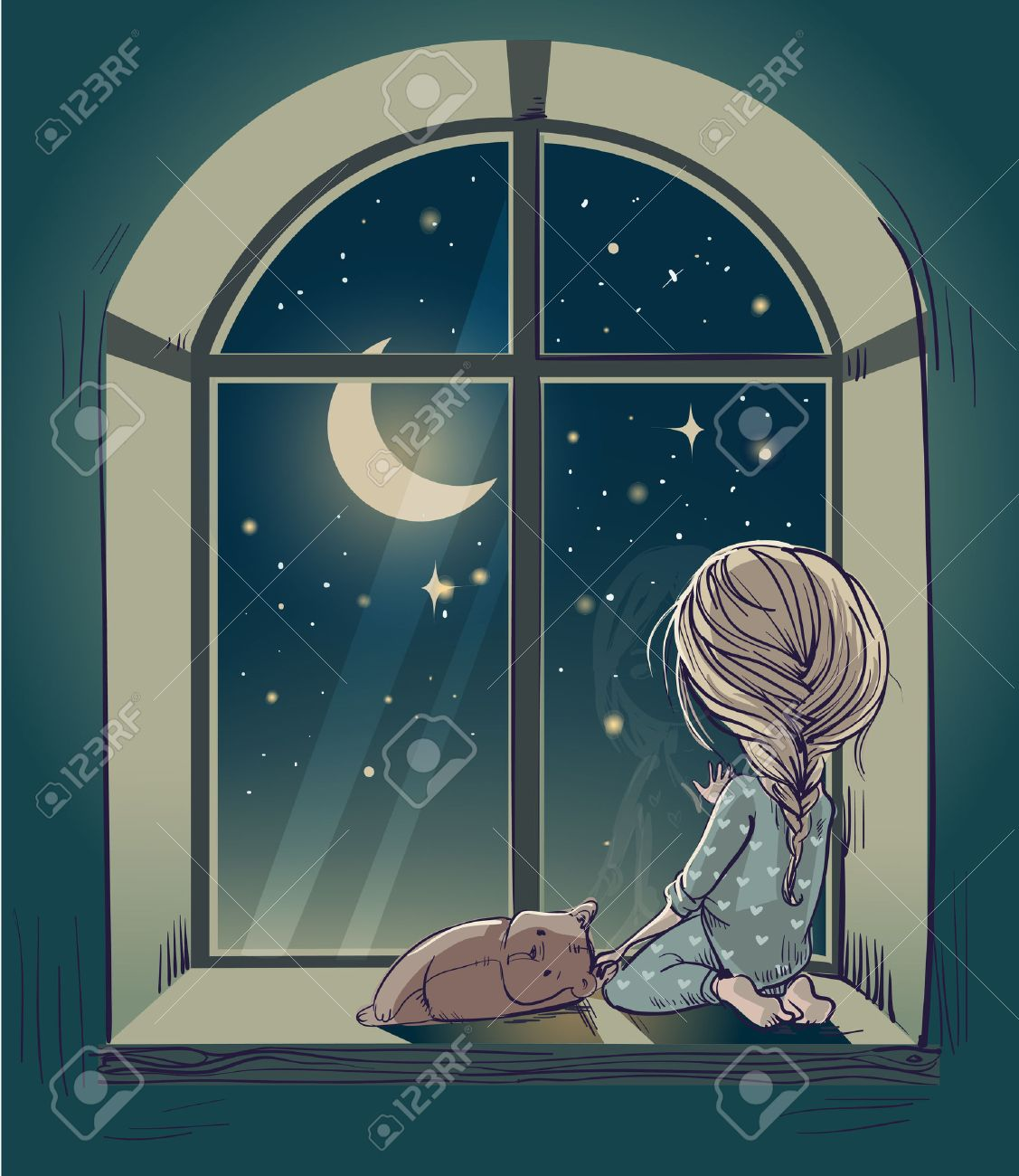 Kids at night with moon royalty free stock photography image - Night Cartoon Little Cute Cartoon Girl With Teddy Bear And The Moon Night
