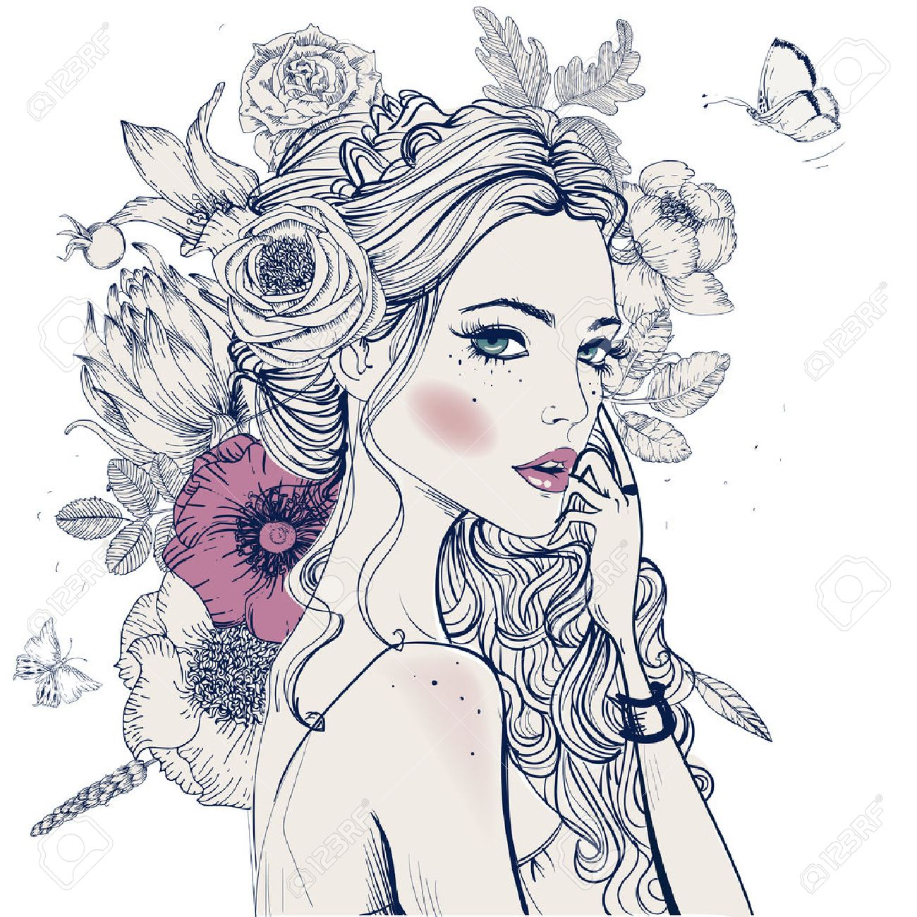 portrait of young beautiful woman wirh flowers - 52266341