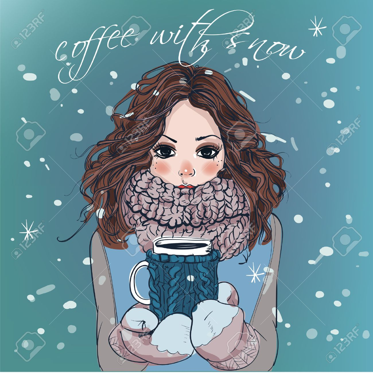 portrait of cute winter cartoon girl with coffee cup royalty free