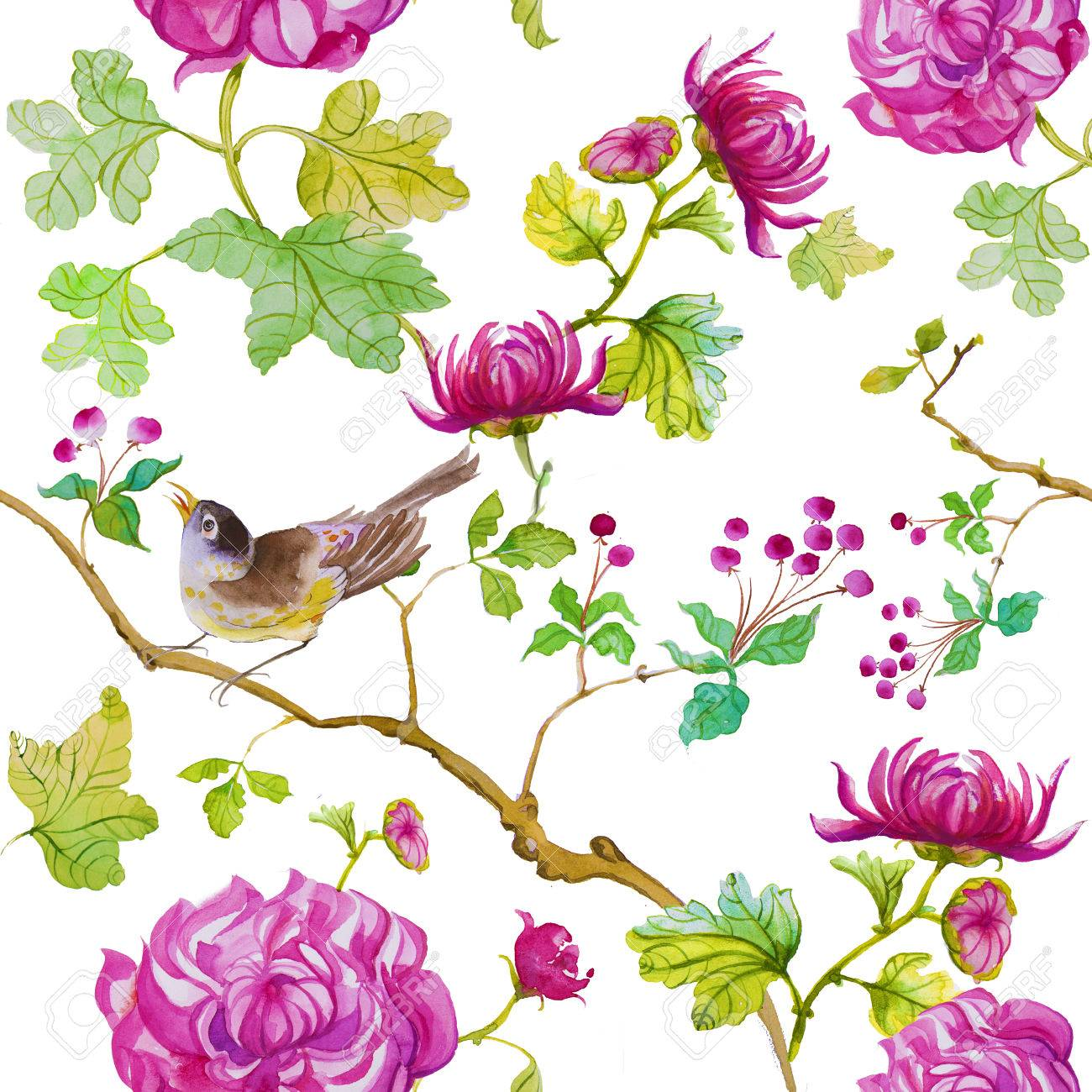 Floral Watercolor Pattern Birds With Spring Flowers Stock Photo