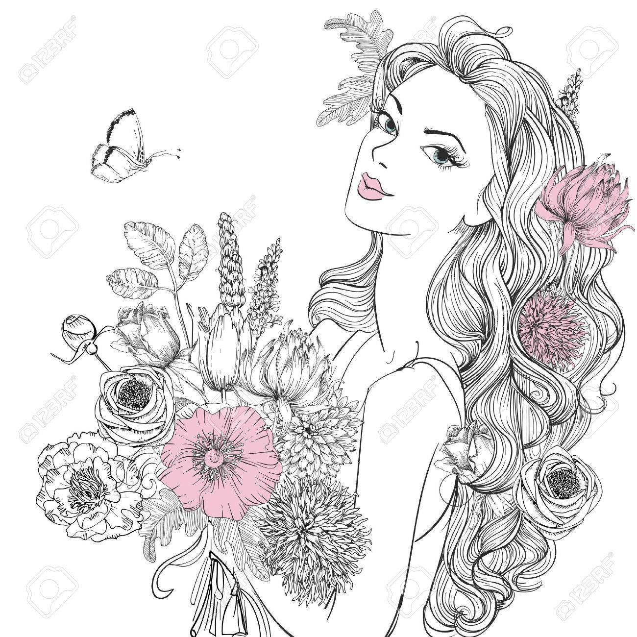 portrait of young beautiful woman wirh flowers - 55900650