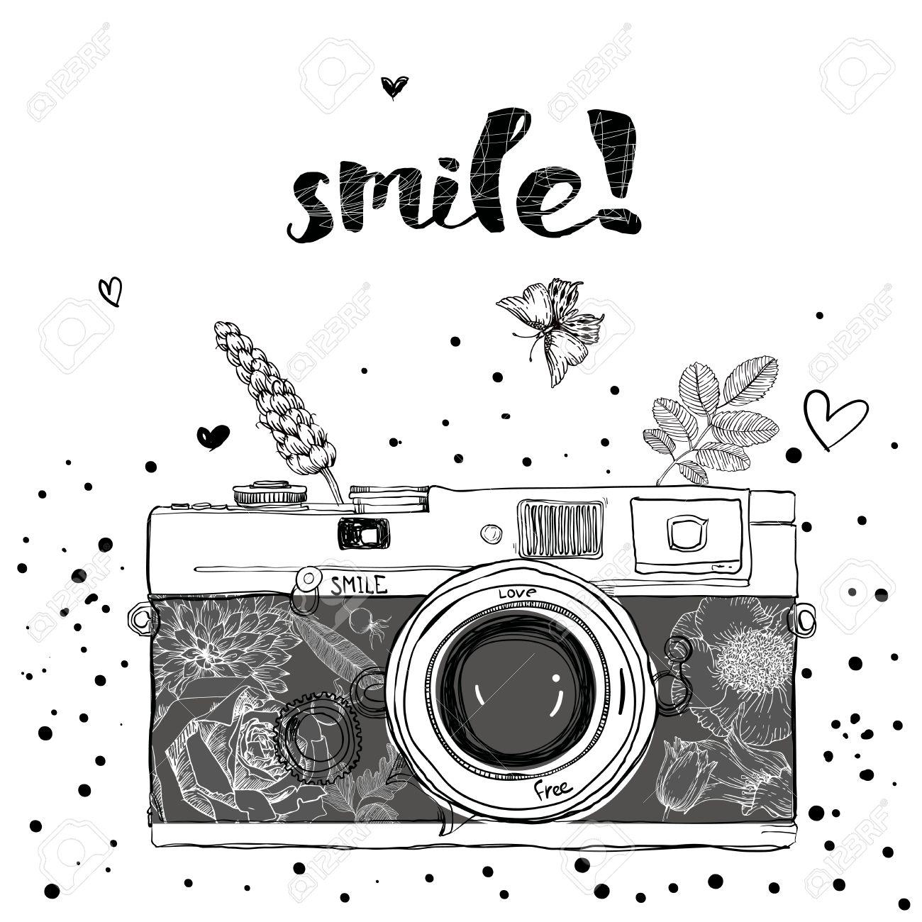 レトロなカメライラスト花の写真のカメラ花柄のカメラのイラスト