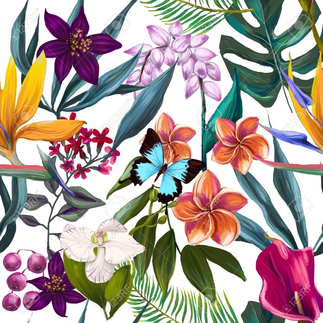 Motif Tropical Seamless Exotique Mode Papier Peint A Fleurs Collet