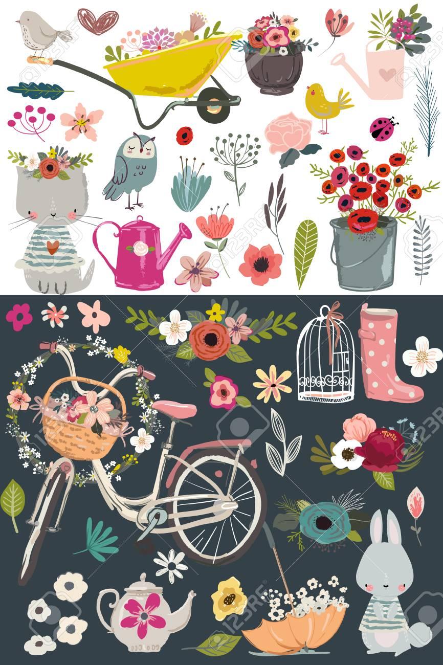 Juego De Jardín Vintage Ilustraciones Vectoriales, Clip Art ...