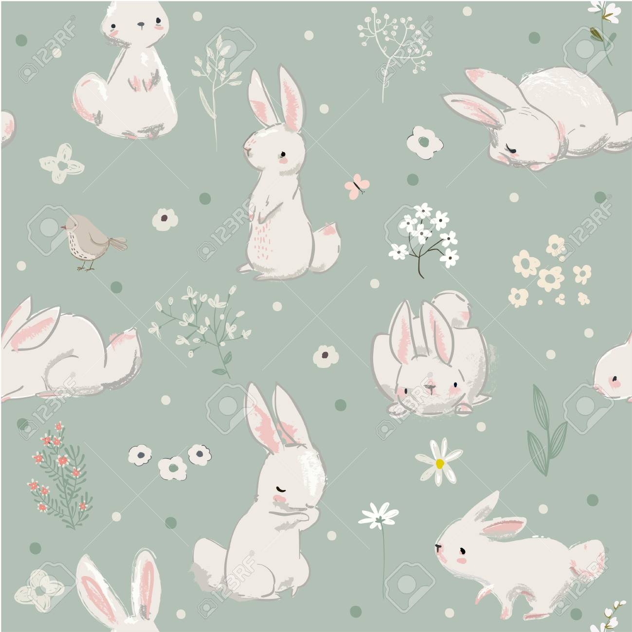 Pattern with cute little hares - 87790637