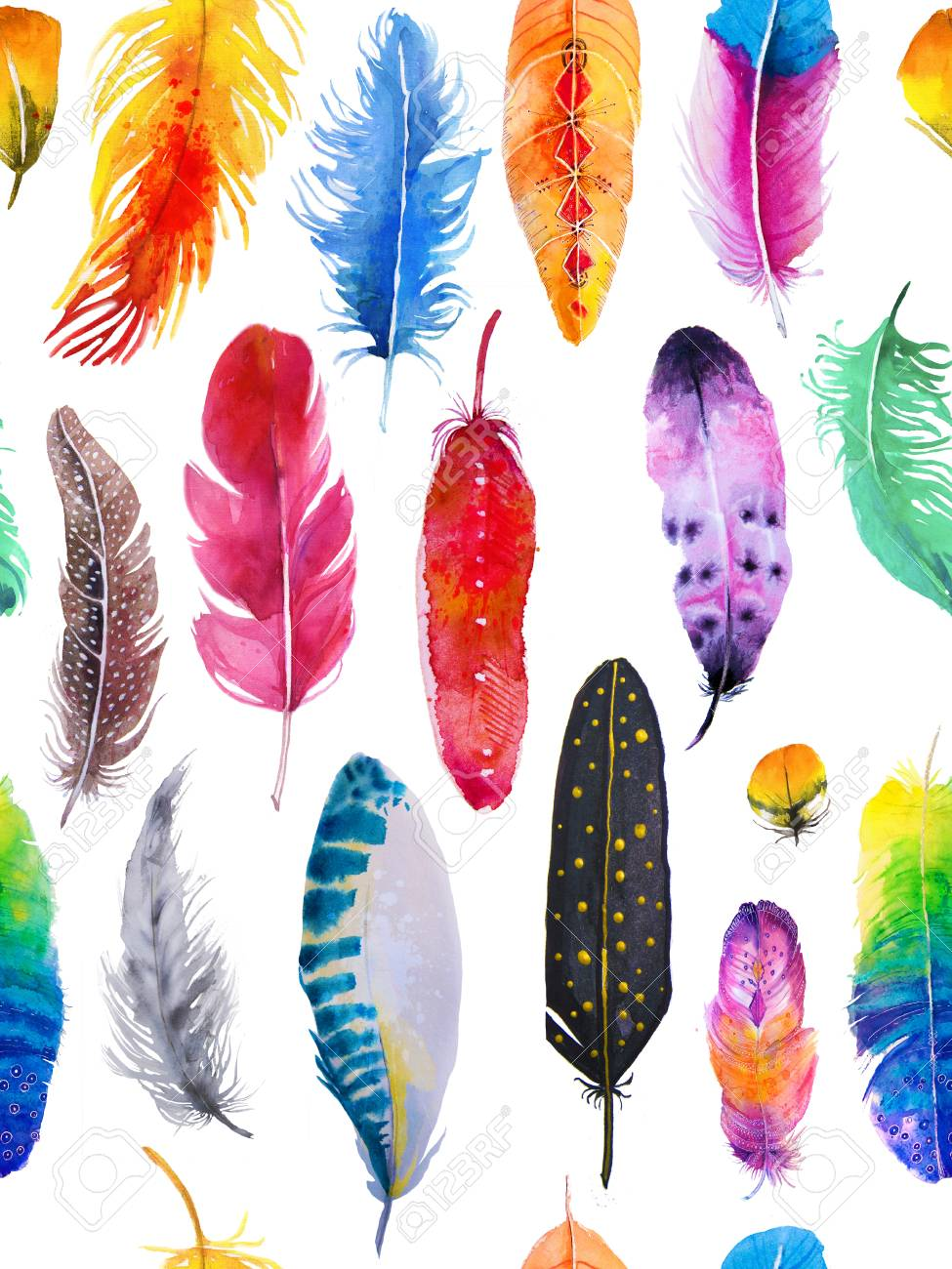 seamless pattern with watercolor feathers - 91860485