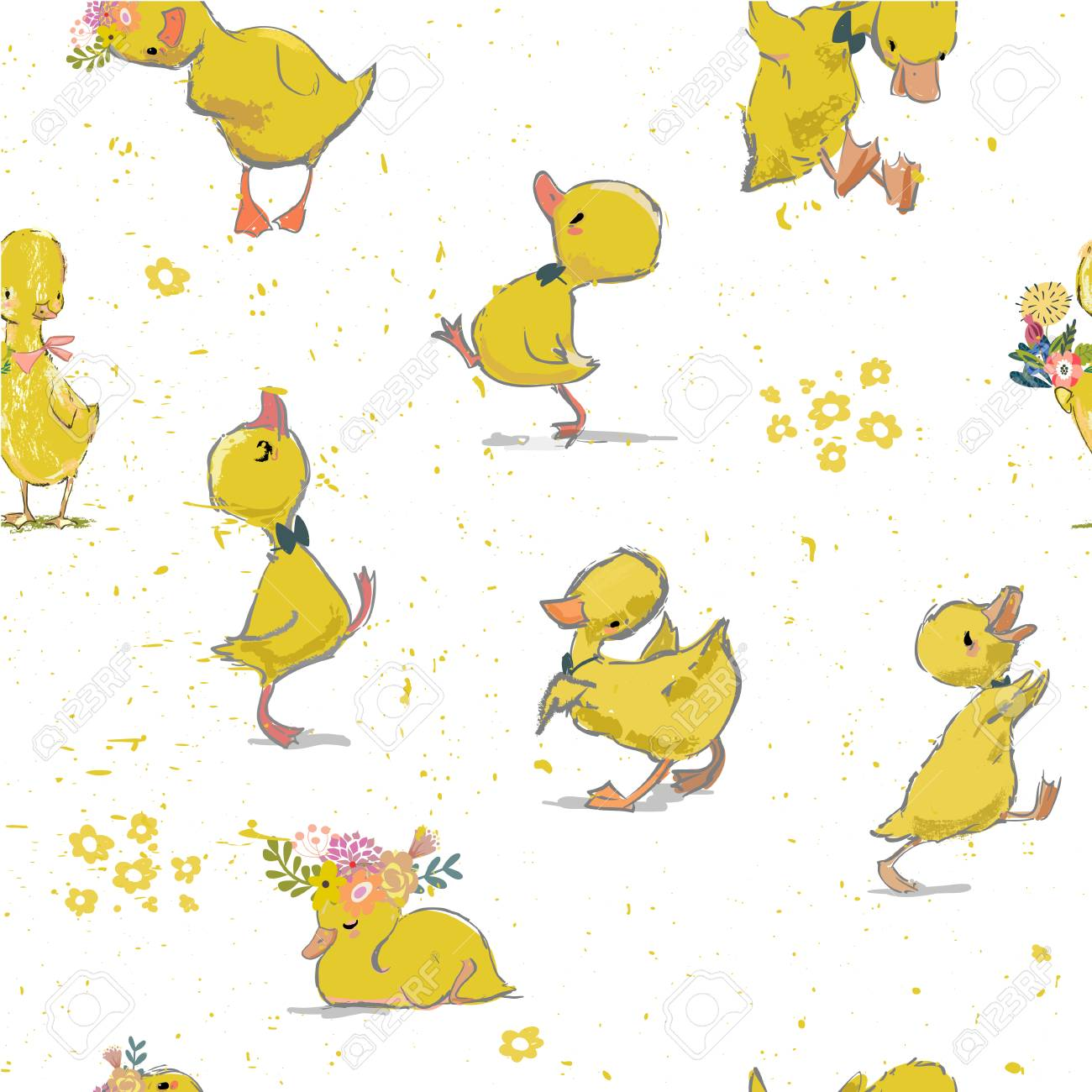 seamless pattern with little duckling - 104495331