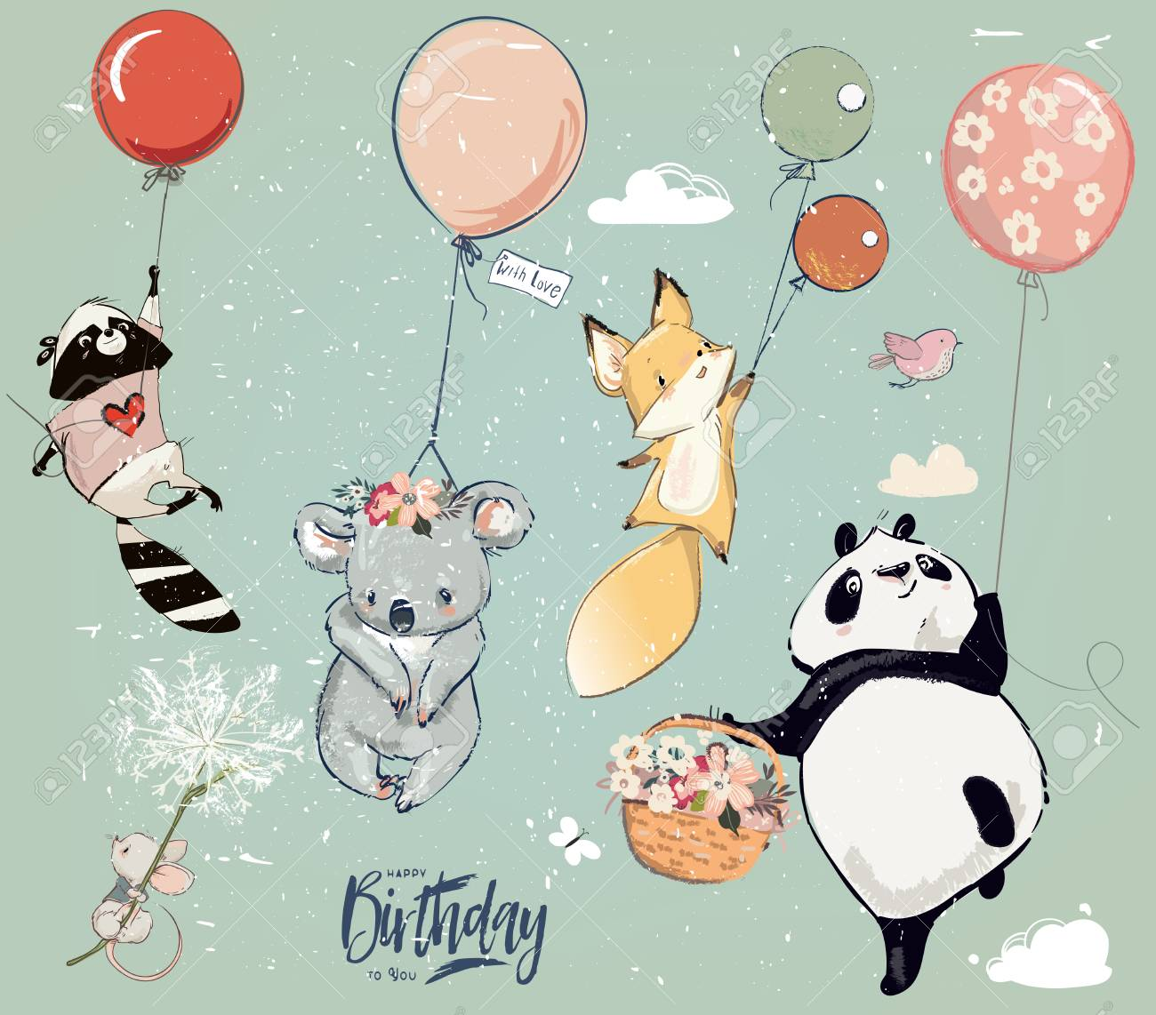 Collection of cute vector birthday fly animals with balloons - 109809154