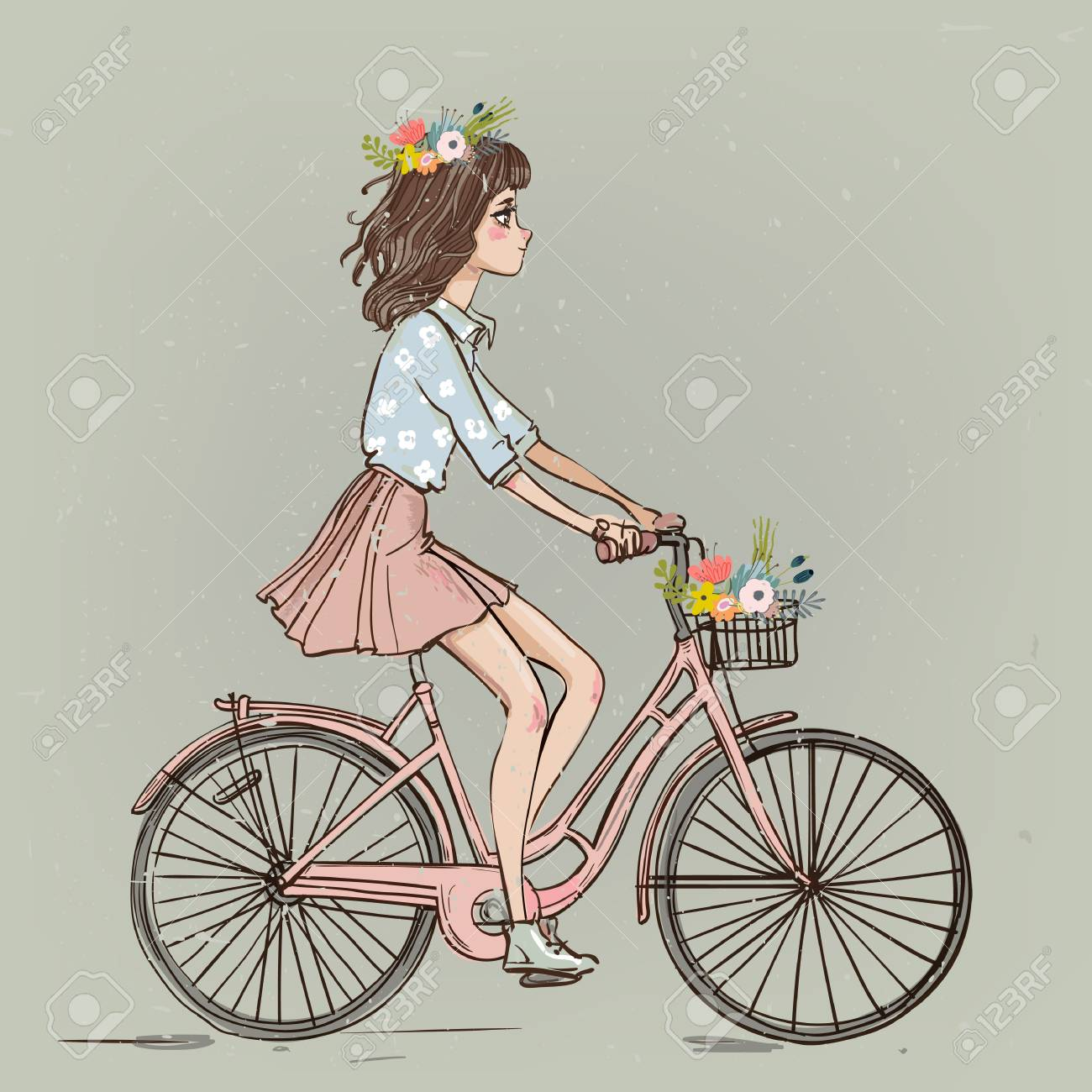 Cute Cartoon Girl On Bike With Flowers Royalty Free Cliparts ...