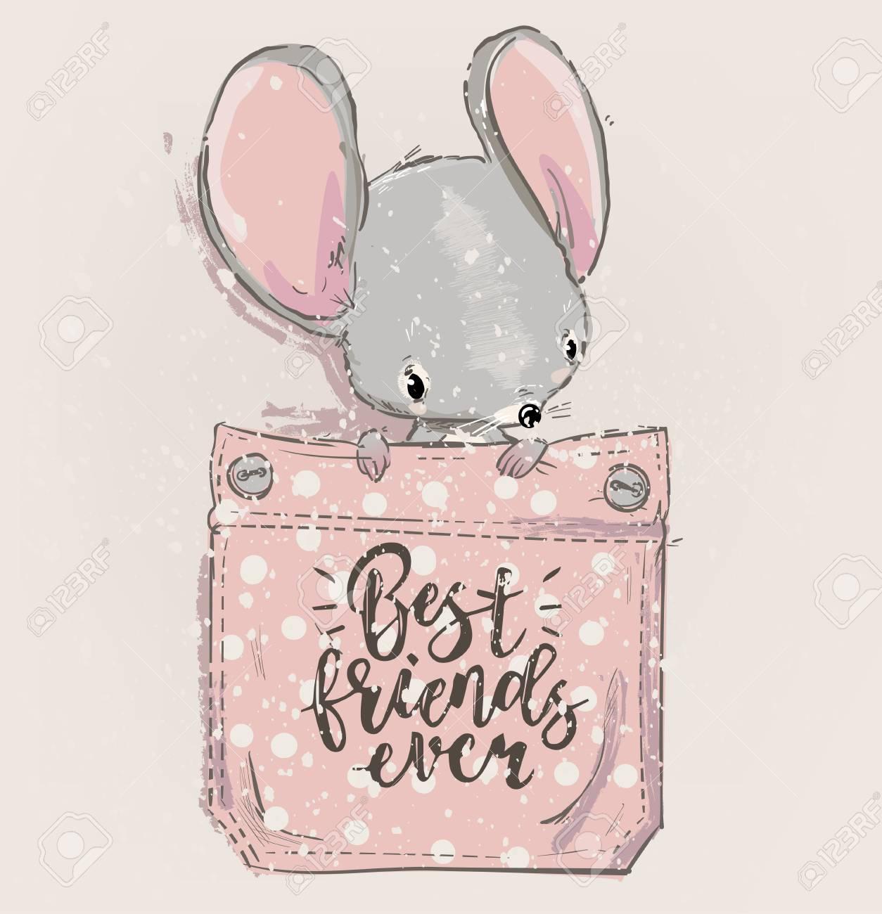 cute lovely cartoon mouse on pocket. Vector card - 126314079