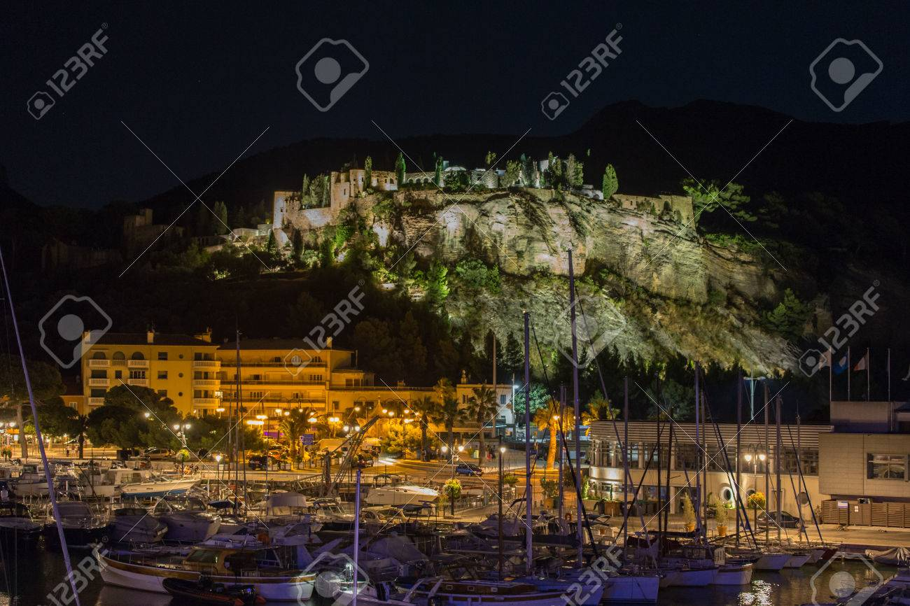 Cassis Castle At Night Stock Photo Picture And Royalty Free Image
