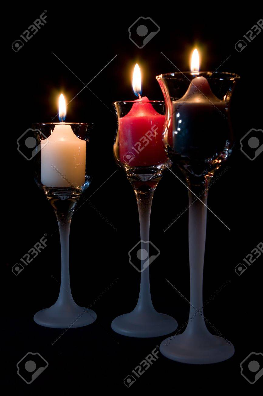 Three 3 Candles Burning In Decorative Candle Holders Stock Photo Picture And Royalty Free Image Image 5367992