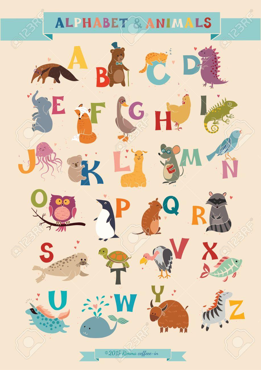 Alphabet Animaux Vector Set Illustration L éducation Des Enfants école Maternelle Mignon Affiche Dessiné à La Main
