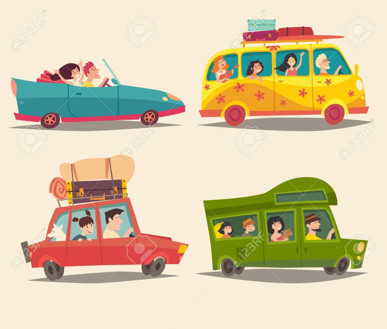 Voyager En Voiture Cabriolet Van Et Trailer Avec Des Gens Heureux