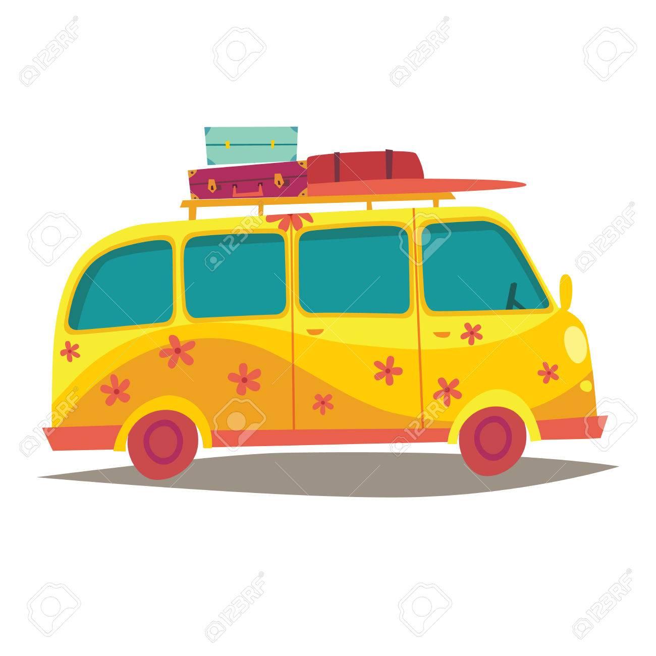 Camping Car Dessin camping-car hippie. voyagez en bus jaune vintage. style de vie