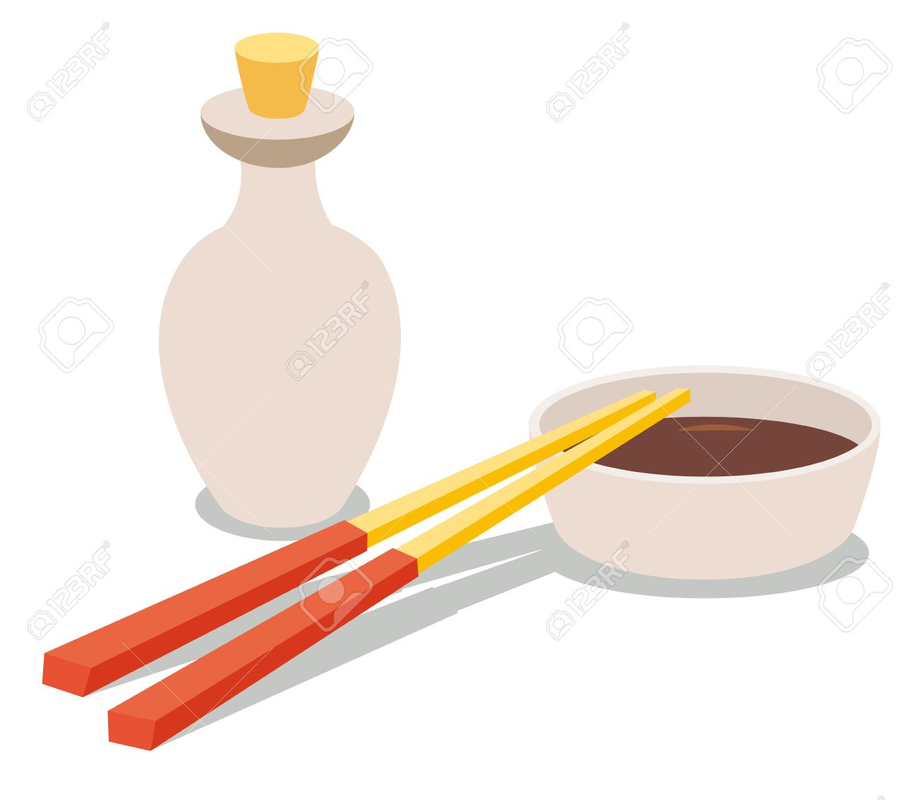 Chopsticks And Soy Sauce Bottle Soy Sauce Icon Chinese Food