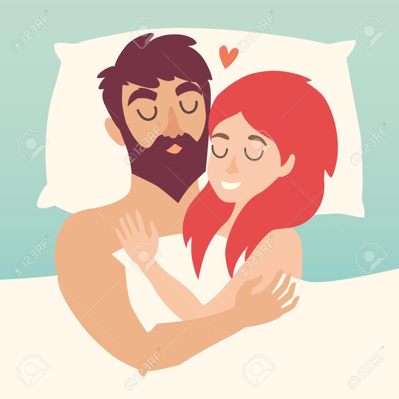 Hombre Y Mujer Pareja En La Cama Dormir Ilustración Vectorial