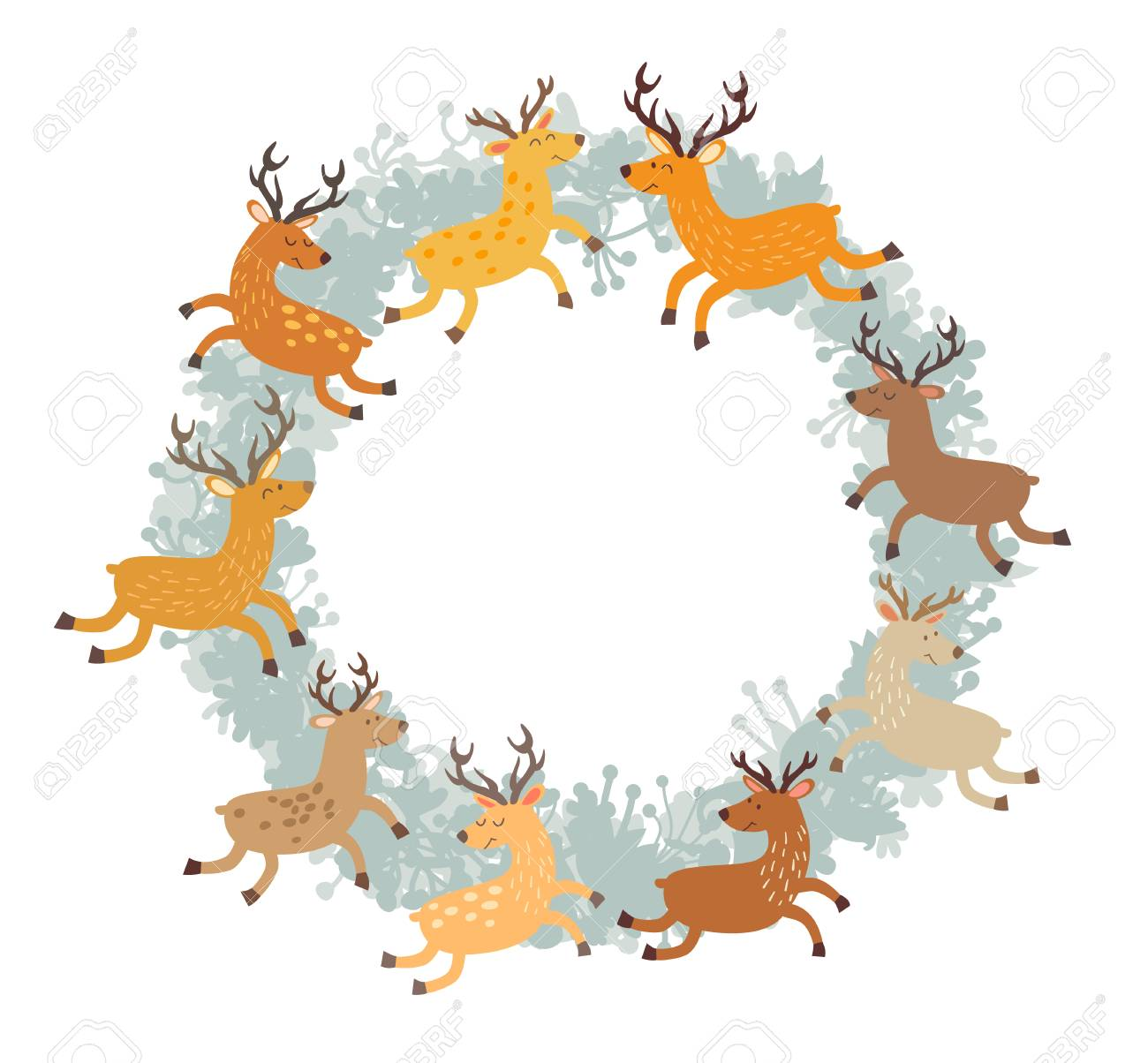 Floral Christmas Wreath With Deer. Hand Drawn Botanical Wreath ...