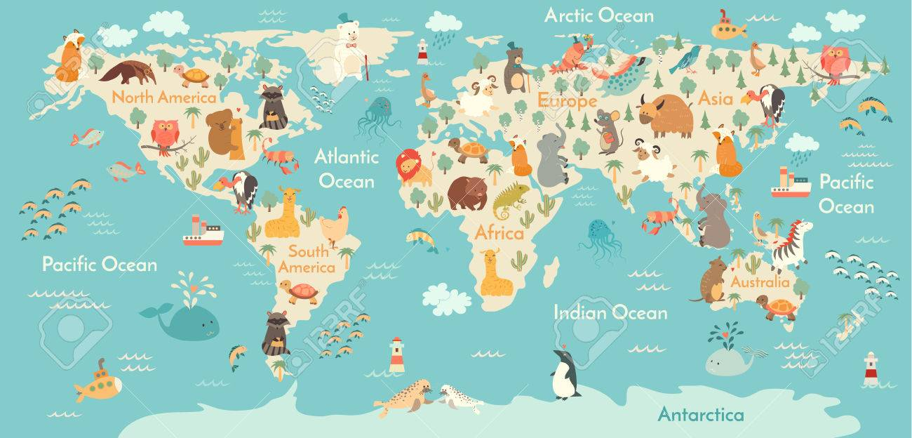 Animals World Map Vector Illustration Preschool Babycontinents - World map oceans continents