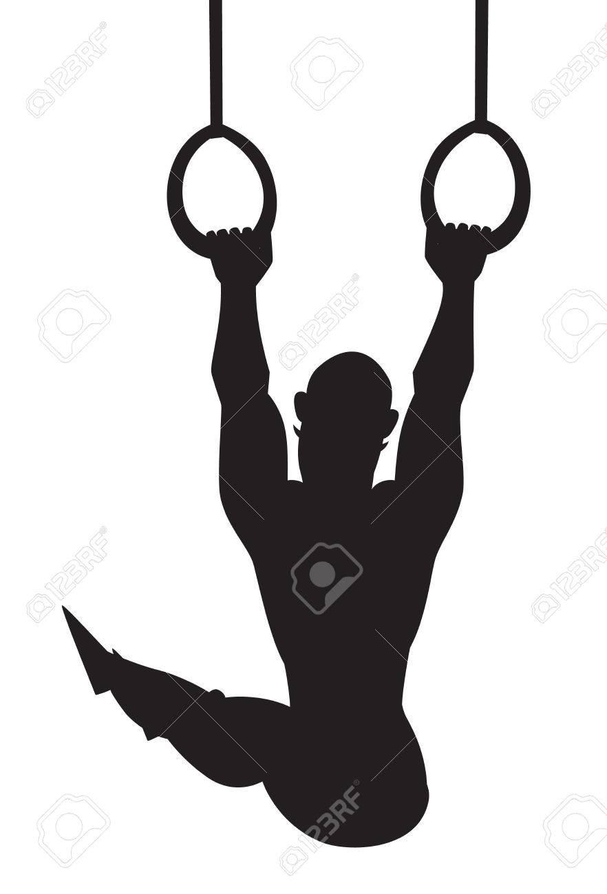 silhouette vector illustration gymnastics rings cartoon style