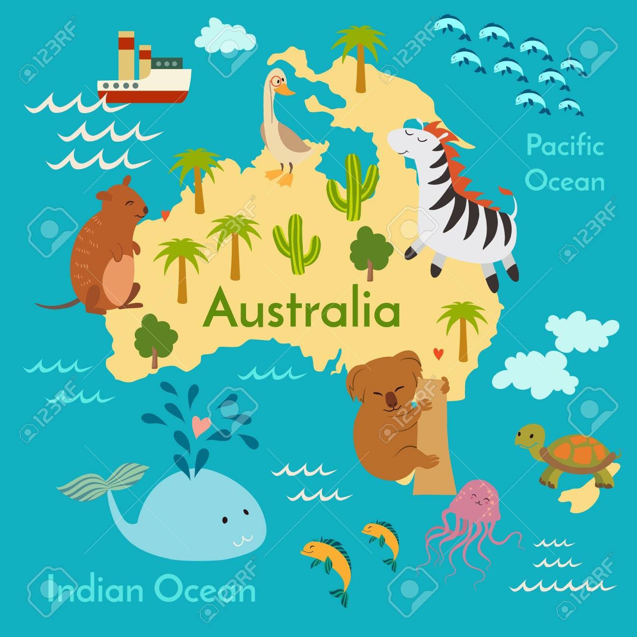 Animals world map australia vector illustration preschool animals world map australia vector illustration preschool baby continents oceans gumiabroncs Image collections
