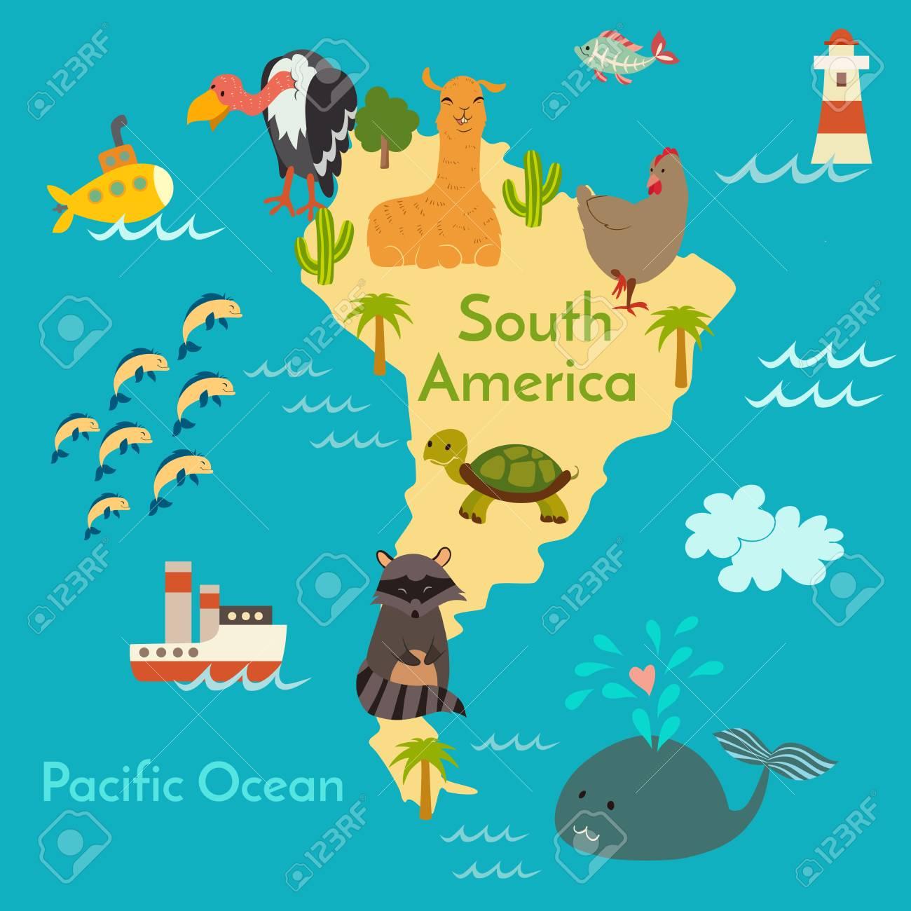 Preschool World Map.Animals World Map Sorth America Vector Illustration Preschool