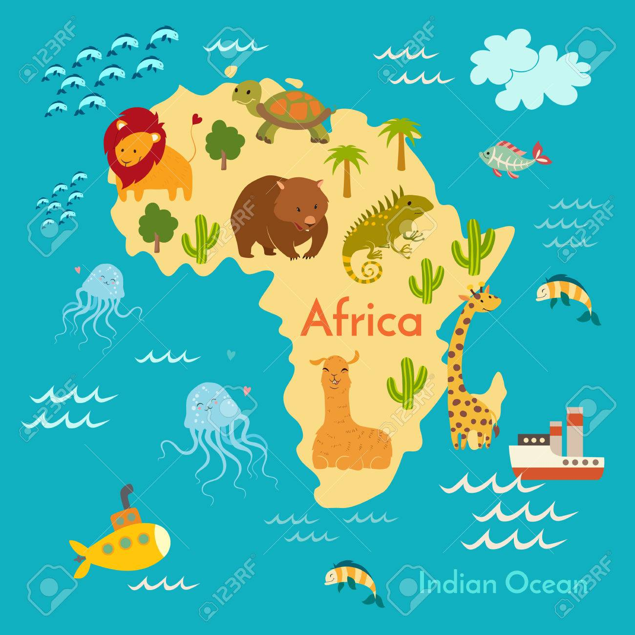Animals world map africa vector illustration preschool baby animals world map africa vector illustration preschool baby continents oceans gumiabroncs Image collections