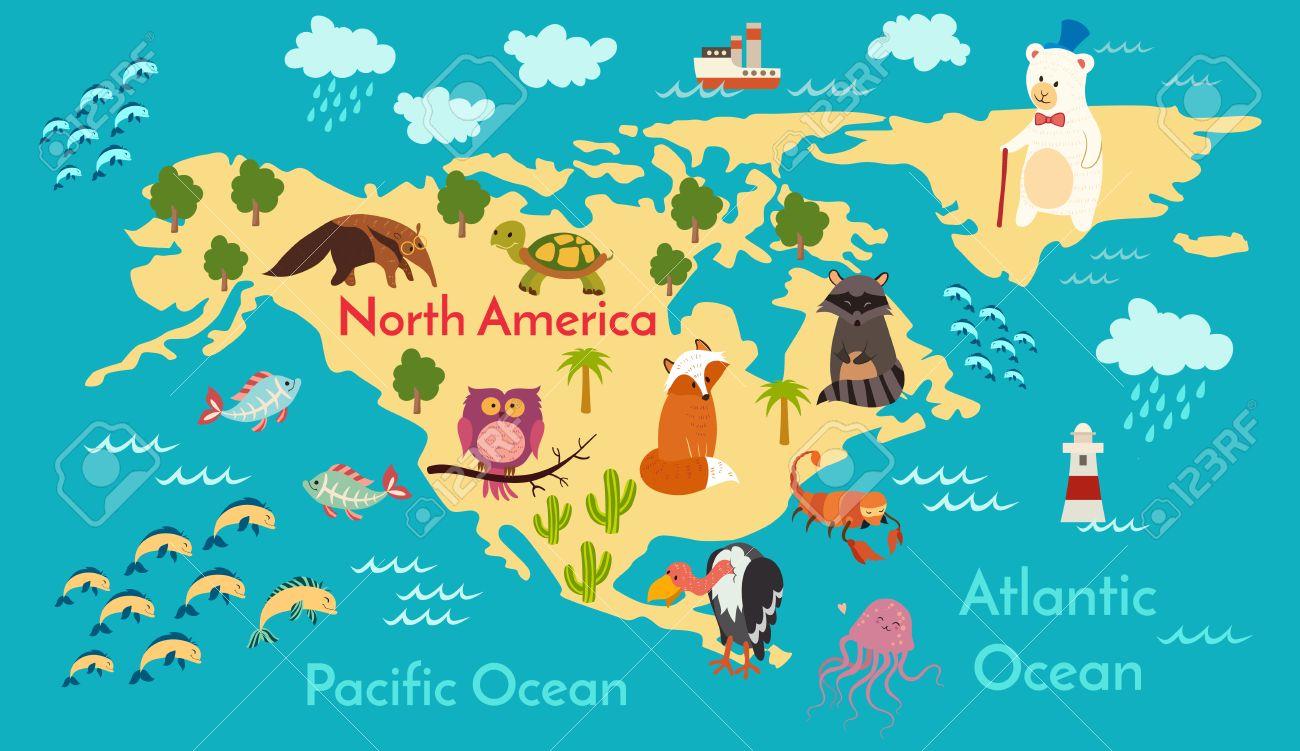 animals world map north america vector illustration preschool