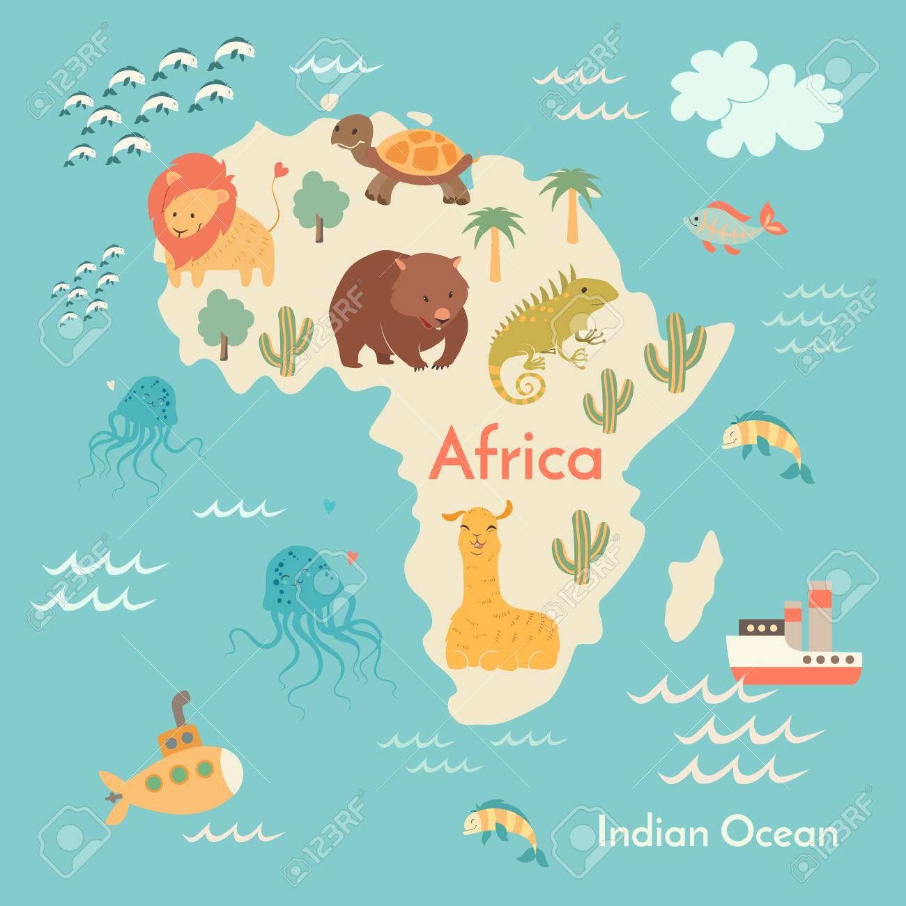 Preschool World Map.Animals World Map Africa Vector Illustration Preschool Baby