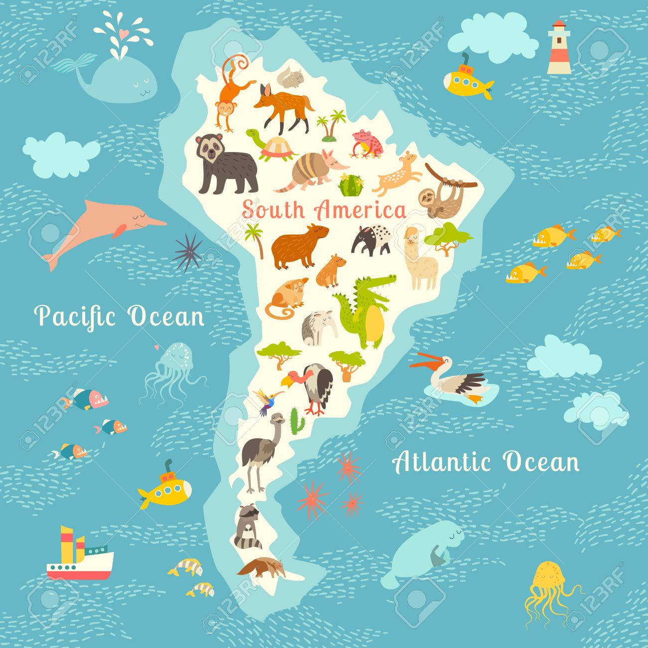 Animals world map sorth america vector illustration preschool animals world map sorth america vector illustration preschool baby continents gumiabroncs Image collections
