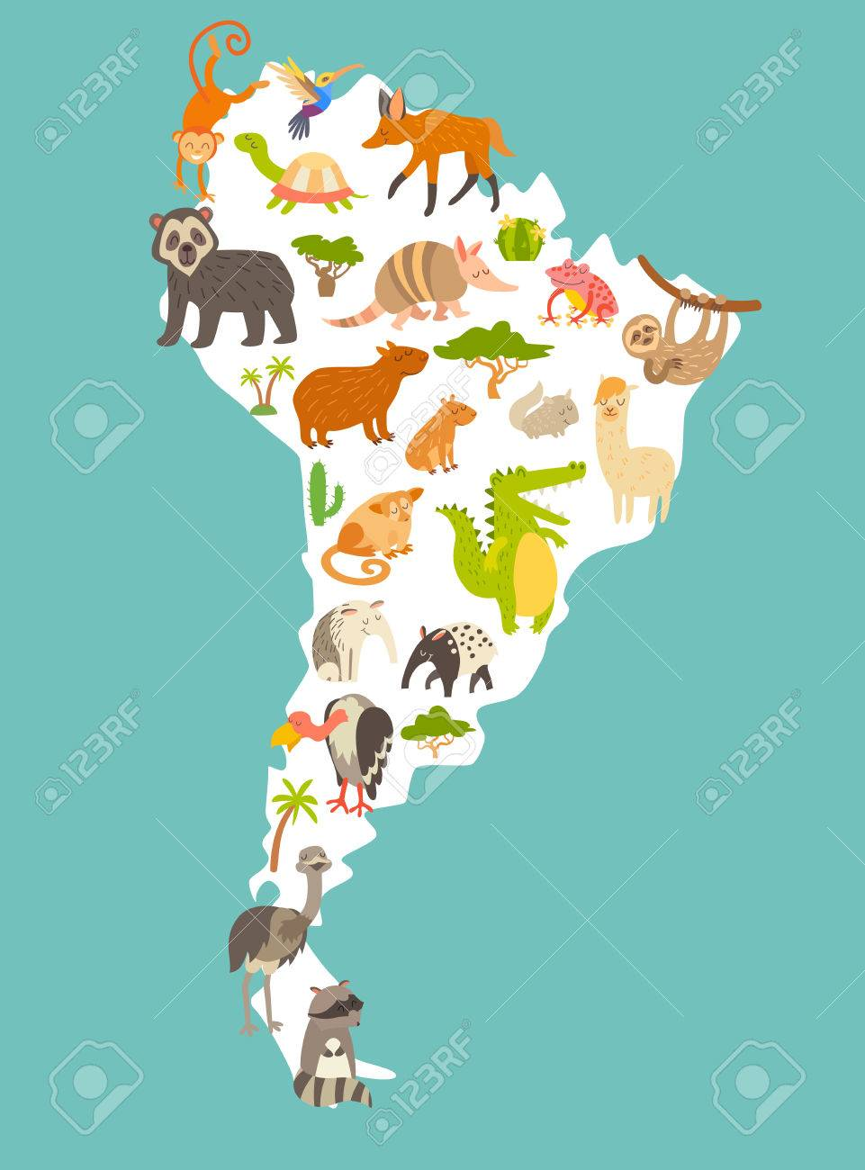 Map Of Sourth America Animals World Map, Sourth America. Colorful Cartoon Vector