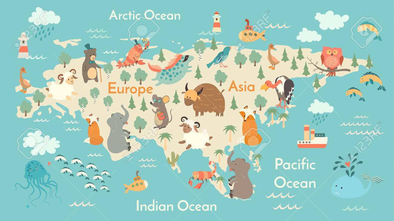 Animals World Map Eurasia Vector Illustration Preschool Baby - World map continents and oceans