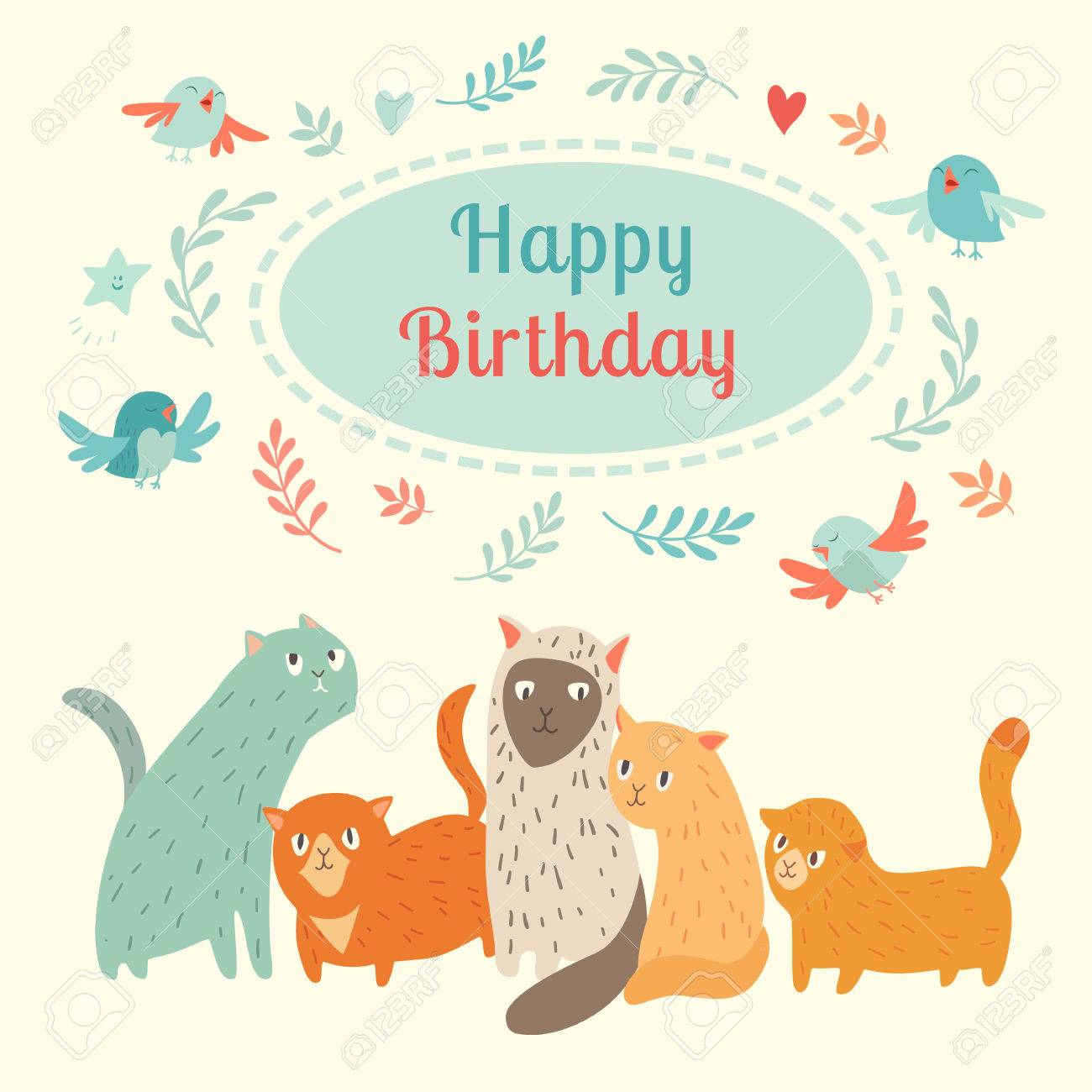 Happy Birthday Lovely Card With Cute Cats And Birds Vector