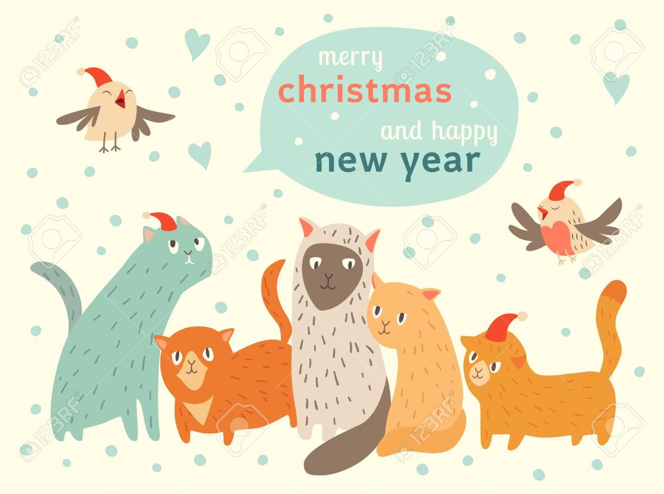 Joyeux Noel Et Bonne Annee Carte Avec Des Chats Et Des Oiseaux