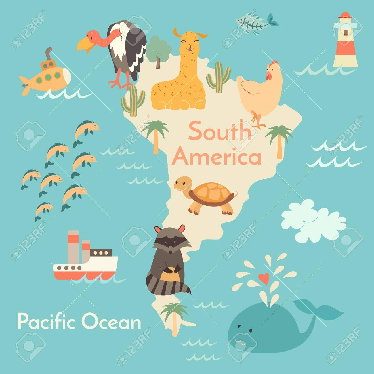 Animals world map sorth america vector illustration preschool animals world map sorth america vector illustration preschool baby continents gumiabroncs Choice Image
