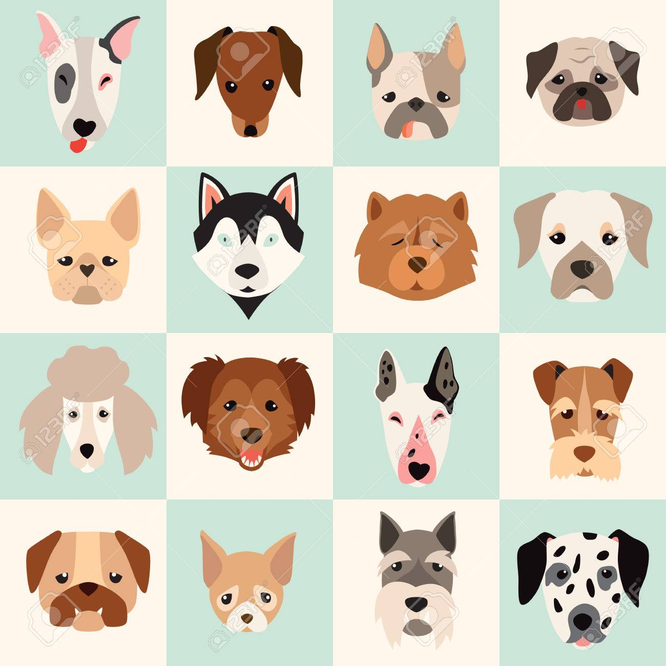 Set Of Cute Dogs Icons Vector Flat Illustrations Popular Dogs