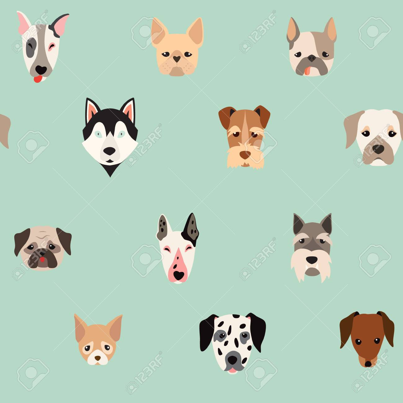 Cute dogs vector pattern illustrations on colored background cute dogs vector pattern illustrations on colored background stock vector 65979814 voltagebd Gallery