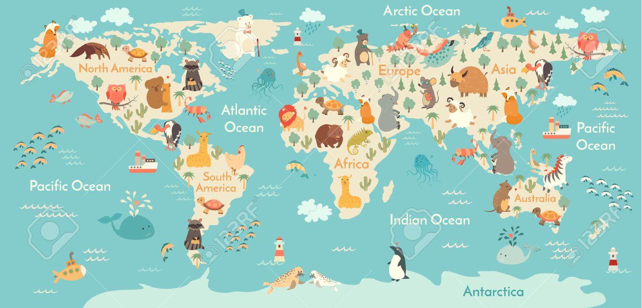 Animals World Map Vector Illustration, Preschool, Baby,continents, Oceans,  Drawn
