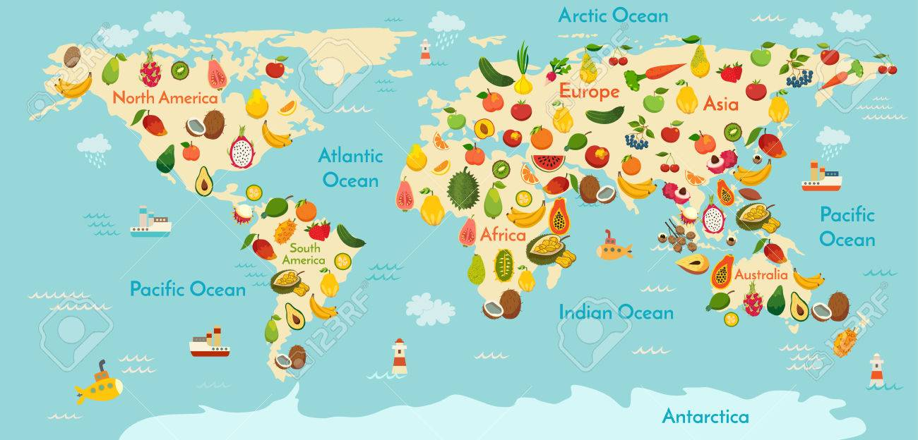Fruit World Map And Vegetables Vector Illustration Preschool - World map oceans continents