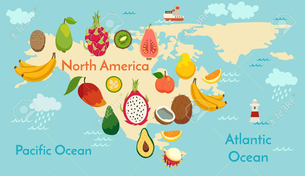 Fruit world map north america vector illustration preschool fruit world map north america vector illustration preschool baby continents gumiabroncs Images