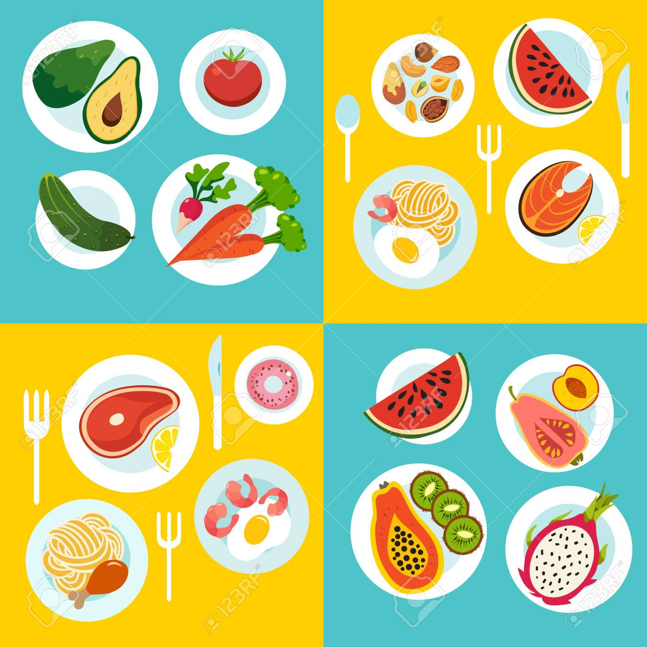 Healthy Food Set Vegetables Fruit Meal On The Table Cartoon Royalty Free Cliparts Vectors And Stock Illustration Image 65980258