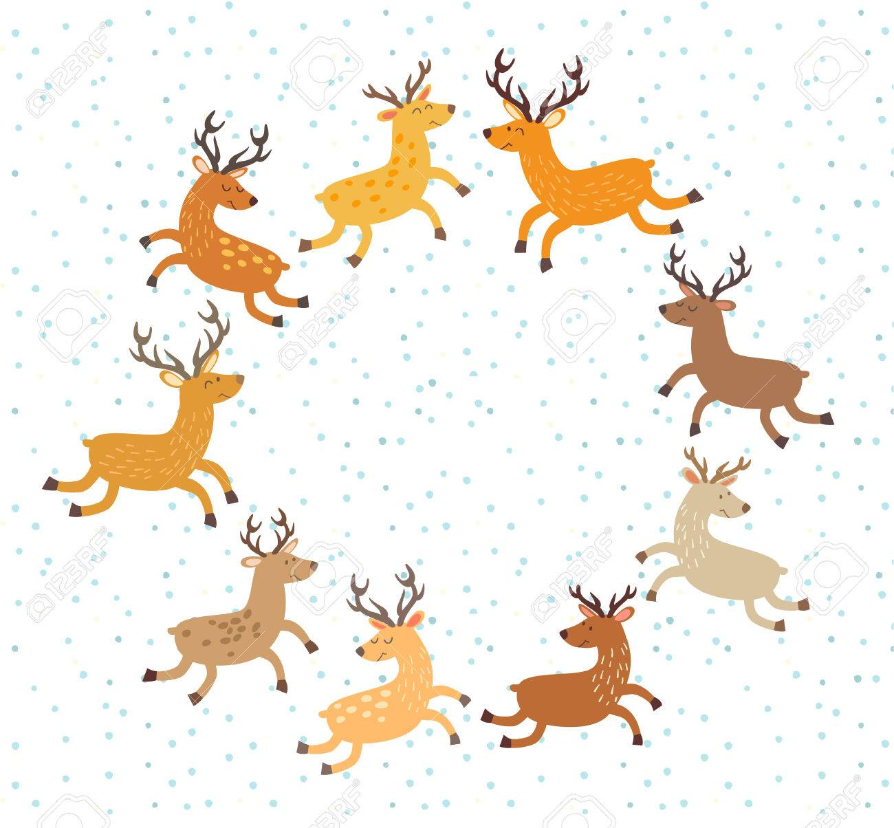 Floral Christmas wreath with deer. Hand drawn botanical wreath...