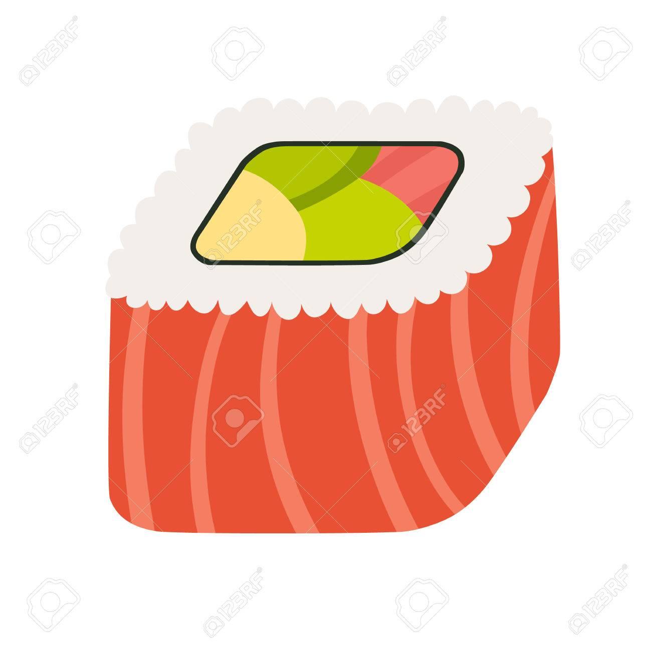 Rouleau De Sushi Avec Poisson Rouge Nourriture Japonaise Icone De
