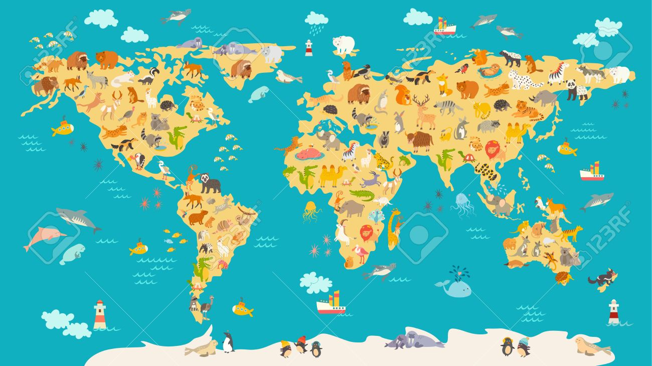 Animal Map For Kid World Vector Poster For Children Cute - World map including oceans and continents