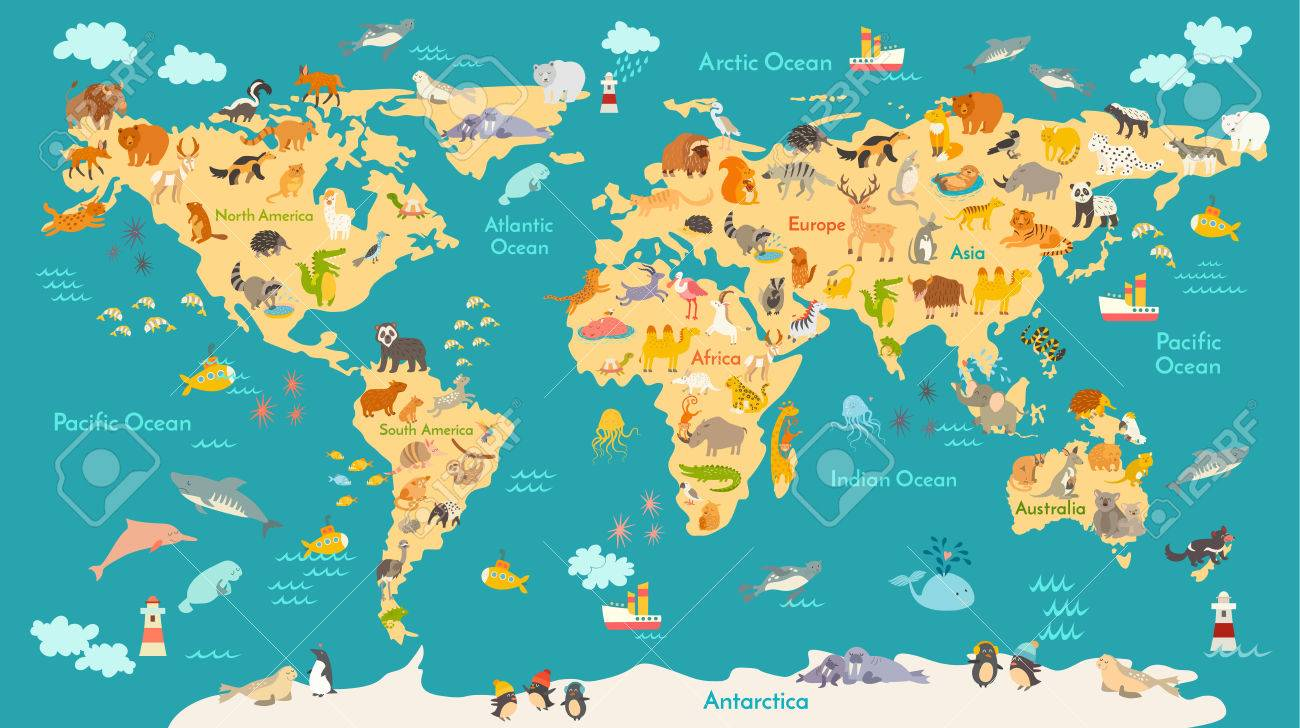 Animal map for kid. World vector poster for children, cute illustrated...