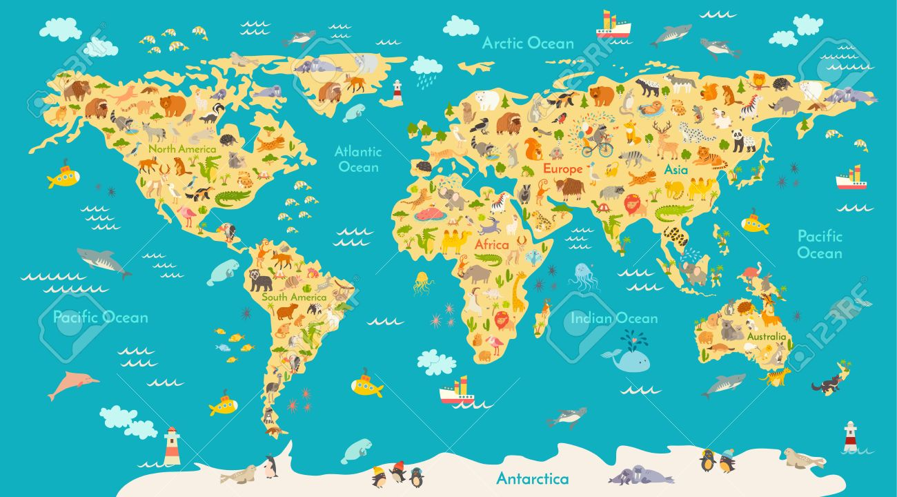 Animal Map For Kid. World Vector Poster For Children, Cute ...
