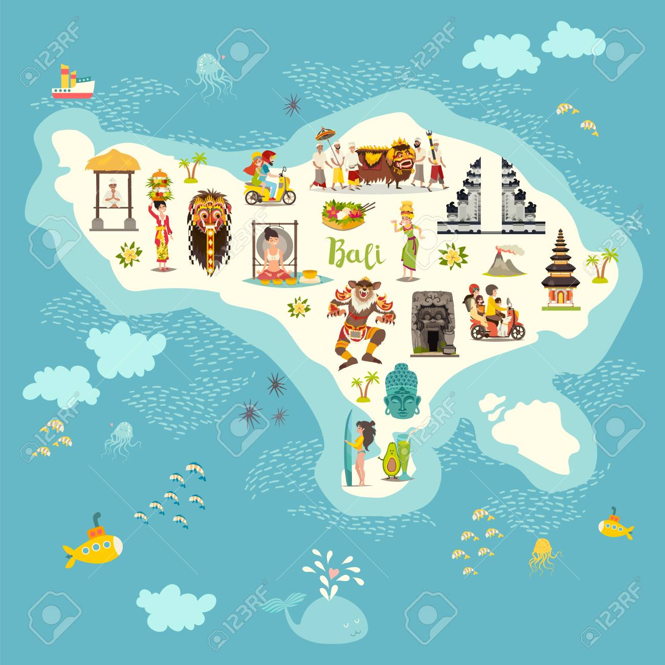 Bali map vector illustration. Illustrated map of Bali for children/kid...