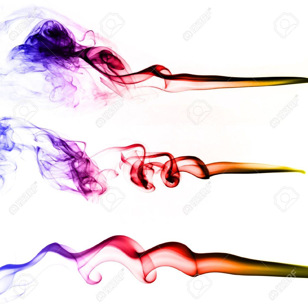 Collection of colored smoke isolated on white background Stock Photo - 15416973